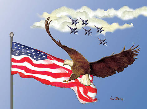Eagle Soaring with Blue Angels by Anne Beverley-Stamps