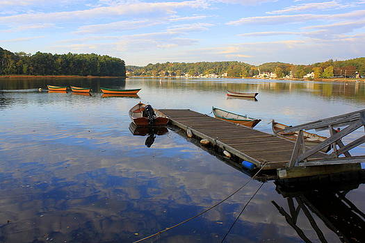 Early Morning on the Merrimack at Lowell's Boat Shop by Suzanne DeGeorge