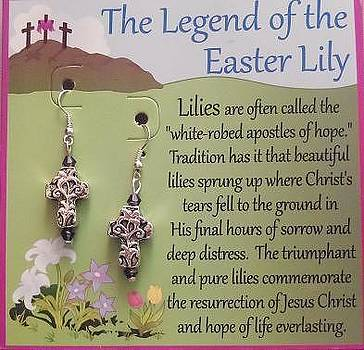 Easter Lily Cross Earrings by Kimberly Johnson