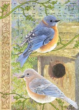 Eastern Bluebirds by Sharon Marcella Marston