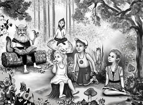 Grissum reads to the Forest Elves by Melodye Whitaker