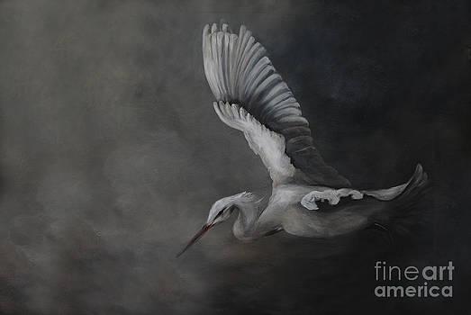 Egret In Flight by Nancy Bradley