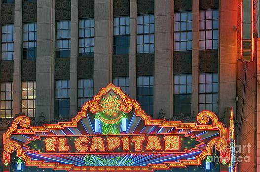 David Zanzinger - El Capitan Marquee Neon Lights lit Hollywood CA