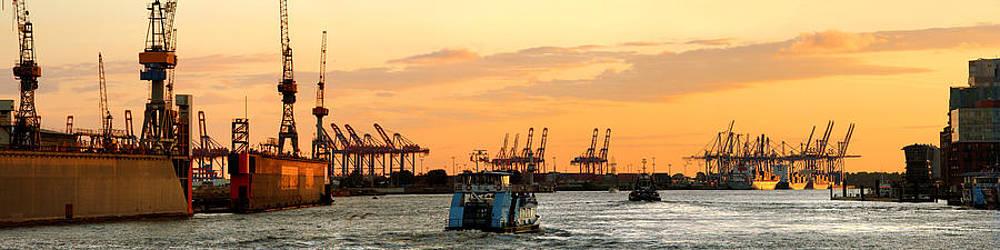 Elbe Sunset Panorama by Marc Huebner