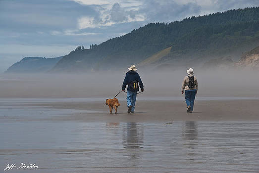 Elderly Couple Walking a Dog by Jeff Goulden