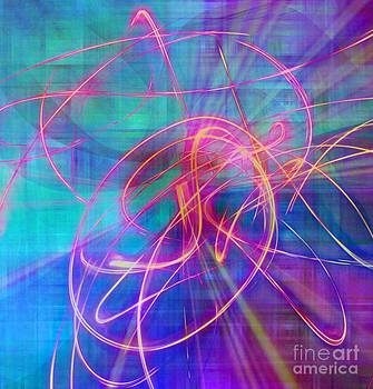 Electric Neon Swirls of Light Abstract by Judy Palkimas