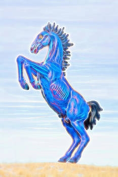 James BO  Insogna - Electrified Blucifer The Rearing Blue Mustang