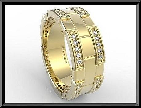 Elegant 14k Yellow Gold Diamond Women Wedding Ring by Roi Avidar