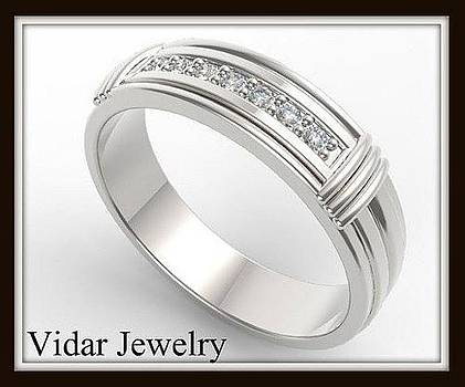 Elegant And Beautiful 14k White Gold Diamond Men Wedding Ring by Roi Avidar