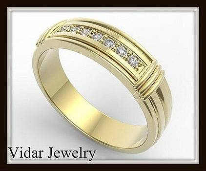 Elegant And Beautiful 14k Yellow Gold Diamond Men Wedding Ring by Roi Avidar
