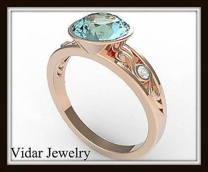 Elegant And Unique Blue Aquamarine 14k Rose Gold Engagement Ring by Roi Avidar