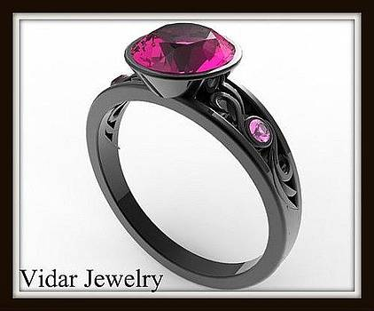 Elegant And Unique Pink Sapphire 14k Black Gold Engagement Ring by Roi Avidar