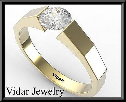 Elegant Diamond 14k Yellow Gold Engagement Ring by Roi Avidar