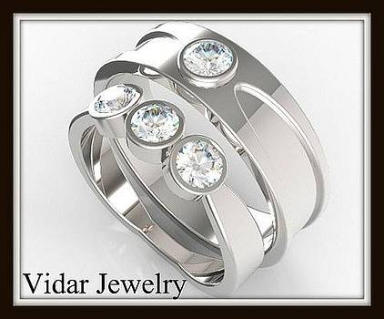 Elegant His And Hers Matching Diamond 14kt White Gold Wedding Band Set by Roi Avidar