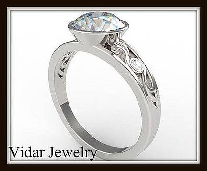 Elegant Moissanite And Diamond 14k White Gold Engagement Ring by Roi Avidar