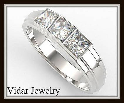 Elegant Princess Cut Diamond 14k White Gold Women Wedding Ring by Roi Avidar