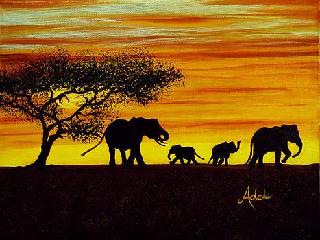 Elephant Silhouette by Adele Moscaritolo