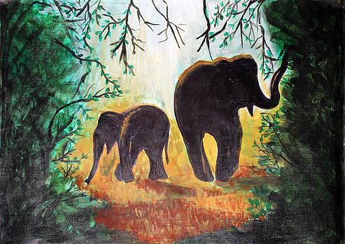Elephants at night by Saranya Haridasan