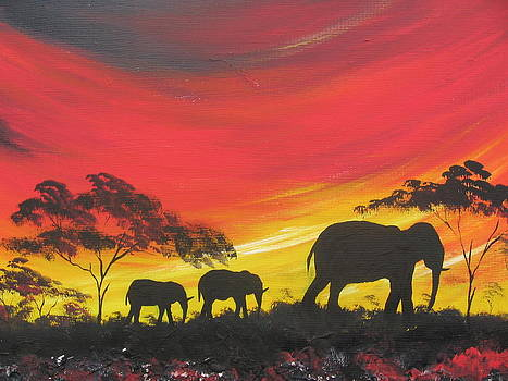 Elephants On Sunset by Kchris Osuji