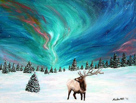 Elk Under the Northern Lights by Amy Scholten