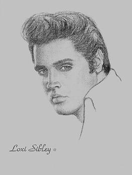 Elvis in Charcoal by Loxi Sibley