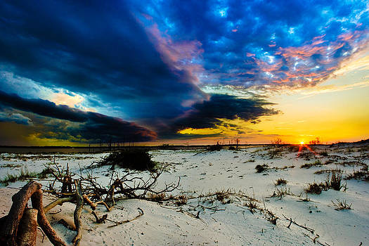 Encroaching Storm Landscape-Blue Clouds Sunset Beach by Eszra