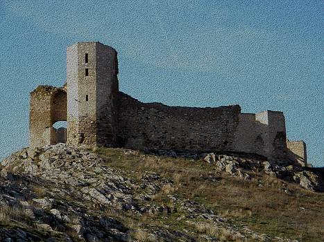 Enisala fortress canvas by Manuela Constantin