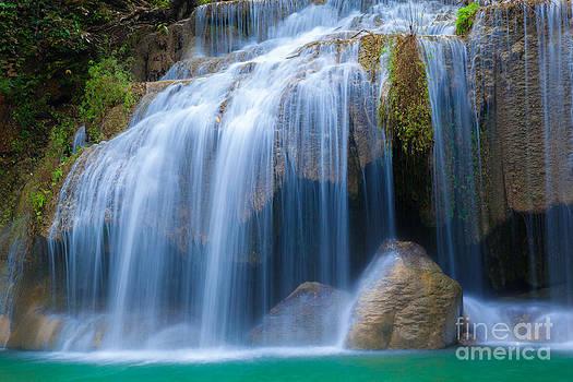 Erawan Waterfall Kanchanaburi Thailand  by Noppakun Wiropart