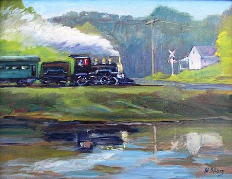 Essex Steam Train along Connecticut River by Ken Shuey