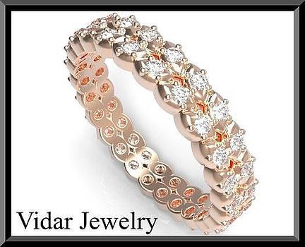 Eternity Diamond 14k Rose Gold Woman Wedding Ring by Roi Avidar