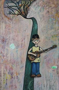 Excaliber Soulful Boy Playing Guitar on a Path Made of Trees in a Sea of Comfort by Cynthia Van Leeuwen