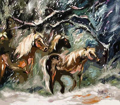 Ginette Callaway - Expressive Haflinger Horses in Snow Storm
