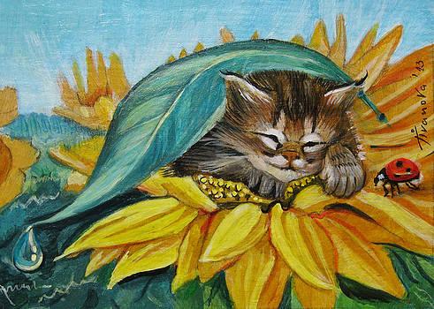 Fairy cat sunflower by Temenuga Ivanova