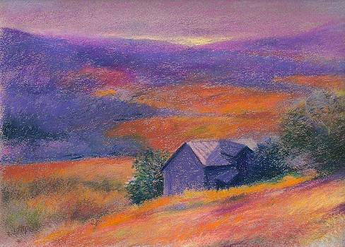 Fall barn pastel landscape by Judith Cheng
