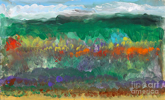 Fall landscape abstract by Anne Cameron Cutri