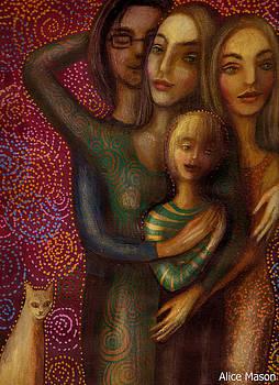 Family and cat by Alice Mason