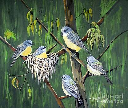Family of Eastern Yellow Robins Australia by Audrey Russill