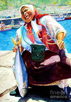 Farida selling fresh yellowtail by Ursula Reeb
