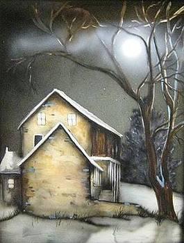 Farm at night by Kendra Sorum