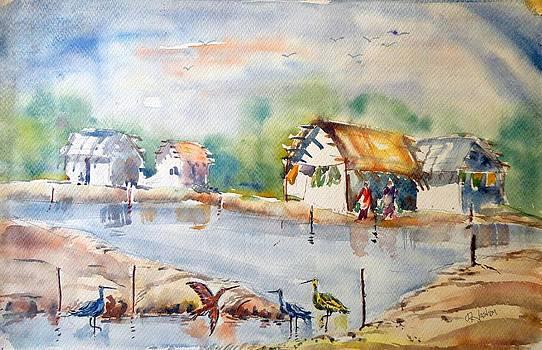 Farm View Painting by Hashim Khan