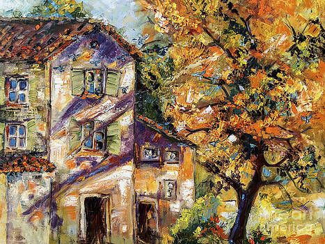 Ginette Fine Art LLC Ginette Callaway - Farmhouse Autumn Tree and Afternoon Sun