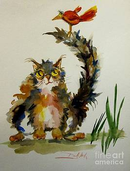 Fat Cat and Red Bird by Delilah  Smith