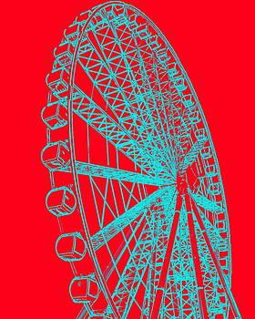 Ramona Johnston - Ferris Wheel Silhouette Turquoise Red