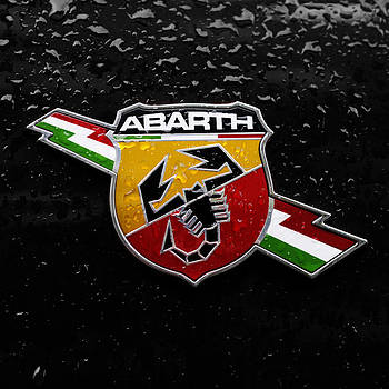 Fiat Abarth Badge On Black by Norman Pogson