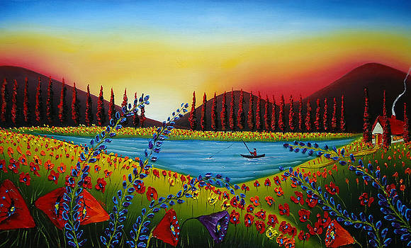 Field Of Red Poppies 5 by Portland Art Creations