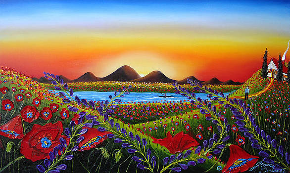 Field Of Red Poppies At Dusk 3 by Portland Art Creations