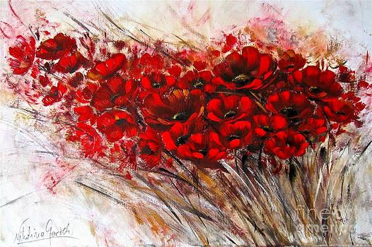 Field of red poppies by Nikolina Gorisek