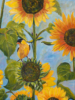Finch and Flowers by Andrea Folts