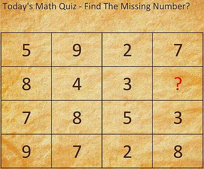 Barry Jones - Find The Missing Number - Math Quiz
