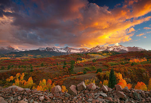 Firery Sunset at Dallas Divide by Tim Reaves